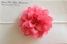 Coral chiffon flower headband by SweetPeaHairAcc on Etsy, $8.00