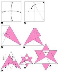 Diagramme d'origami d'étoile père noël