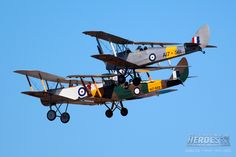 WWI Sopwith 7F.1 Snipe replica built by The Vintage Aviator Ltd, in Australia, at Australian International Air Show 2013, in formation with pair of de Havilland Tiger Moth trainers in RAAF WWII colours.