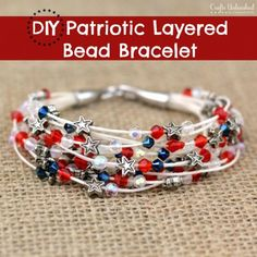 Bead Bracelet DIY: Patriotic Themed - Crafts Unleashed - Could adapt this to quilled paper beads. Pandora Jewelry, Wire Jewelry, Jewelry Crafts, Beaded Jewelry, Jewelry Bracelets, Jewelery, Handmade Jewelry, Diy Bracelet, Jewelry Ideas