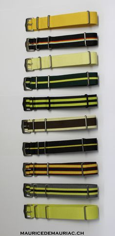 Yellow collection of nato straps from #mauricedemauriac #watches