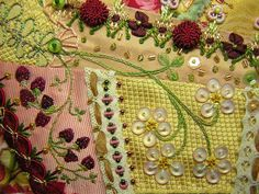 Crazy Quilt Embroidery Stitches - Beaded strawberries, button flowers, and bullion buttons.