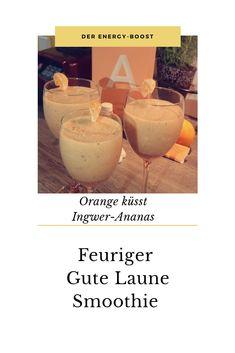 🥂 Energy-Boost 🥂 aus der chi_kreativ-Küche 🥂 Heute früh gab es einen leckeren Smoothie to go zum Wachwerden. Süße Orange küsst feurigen Ingwer. Gepaart mit Ananas und on top B(ä)eerenfrüchte. Belebt, macht wach, schmeckt mega lecker und wirkt antioxidativ. Was will frau mehr? 🥂 Orange, Glass Of Milk, Smoothie, To Go, Drinks, Ethnic Recipes, Pineapple, Quails, Organic Beauty