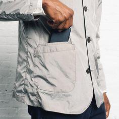 Men Solid Color Long Sleeve Jacket with Pockets - Grey L