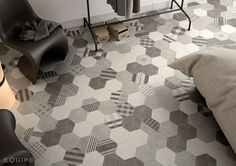 Hexatile Cement White, Grey, Black, Decor GEO Grey 17,5x20. #industrial, #moderno, #decor, #architecture, #shape, #form, #hexagon, #hexatile, tile, #wall floor tile, #porcelain tile, #bathroom, #kitchen, #dinning room, #saloon, #modern, #traditional, #patchwork, #design, #ceramic, #flooring, #mediterranean, #classic, #style, #contemporary, #indoor, #outdoor, #wall floor tiles, #equipe, #equipe cerámicas, #covering