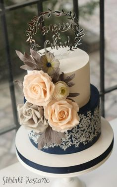 Navy Wedding Cake by Sihirli Pastane