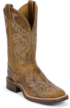 Justin Bent Rail Women's Llano Tan Cowgirl Boots - Square Toe, Tan, hi-res Womens Cowgirl Boots, Western Boots, Cowboy Boots, Boots Women, Western Style, Western Wear, Wedding Boots, Comfortable Boots, Stylish Boots