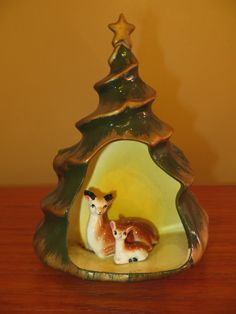 Vintage Creamic Planter with Deer, Fawn and Christmas Tree from EclecticSettings, $15.00