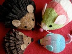 Mouse and Hedgehog Friends. out of old sweaters