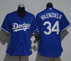 Dodgers #34 Fernando Valenzuela Blue Women's Fashion Stitched MLB Jersey