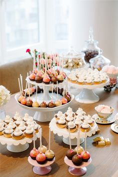 Julie Hwang of Big City Little Sweets // dessert table styling // miniature cupcakes // french macarons // cake pops // Photography by Judy Pak // @Big City Little Sweets