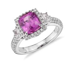 2.69 ct. Cushion Cut Pink Sapphire with Diamond Halo Ring in 18k White Gold