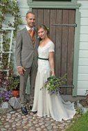 Real wedding in Finland - Wedding dress made of silk chiffon, cotton lace and linen by Pukuni (www.pukuni.fi)