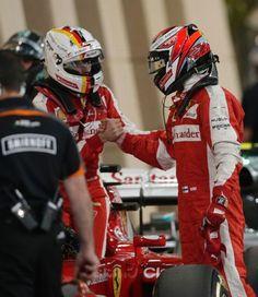 Ferrari teammates Sebastian Vettel & Kimi Raikkonen shaking hands in parc ferme after qualifying. #BahrainGP #F1