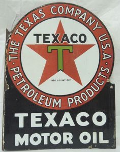 Texaco Vintage Porcelain Sign (Old Antique Motor Oil Gas Company Advertising, Petroleum Products Company)