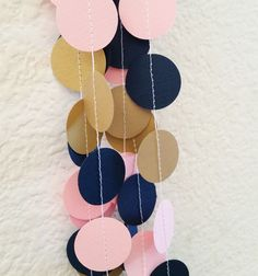 Sewn Paper Garland, Pink, Navy Blue, and Gold, Paper Bunting, Wedding Decoration, Baby Shower, Bridal Shower, Birthday, Gender Reveal Party by ThePartyApple on Etsy