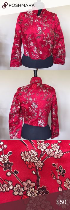 "Authentic Asian Crop Crossover Jacket This was Purchased in China. It is a Custom piece. My parents had this made for me!! No tags. Fits a Small/ Medium.  Silk! NWOT!  You will never find another one like this! Measurements are Approx 19"" L x 18 1/2"" B x 22 1/4"" Sleeves. I measure Flat. Please ask all questions prior to buying. I bundle vintage China Jackets & Coats"