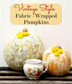 Vintage Style Fabric-Wrapped Pumpkins #MPumpkins