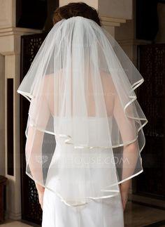 One-tier Waltz Bridal Veils With Ribbon Edge (006036617)