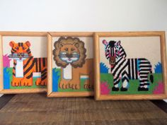 Set of Three Colorful Vintage Needlepoint Wild Animal Wall Art Lion Tiger and Zebra by ObjetLuv on Etsy