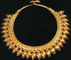 Necklace from the tomb at the ancient city of Nimrud, in Iraq. Nimrud was the capital of Ashurnasirpal II, an Assyrian king of the 9th century BC