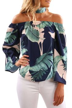 Wholesale Navy Leaves Print Off Shoulder Blouse with Choker – kaliyy Latest Fashion Trends, Trendy Fashion, Stylish Outfits, Cute Outfits, Modest Fashion, Fashion Outfits, Pants For Women, Clothes For Women, Elegant Outfit