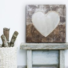 Canvas Love Heart, from our collection of original and unique wall art embellished with aluminium and silver . .  . http://www.silverwallart.co.uk