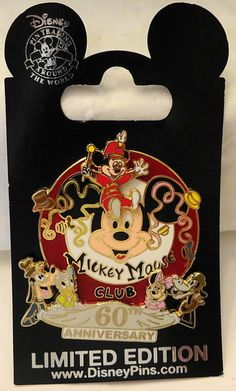 Disney Mickey Mouse Club 60th Anniversary Limited Release Pin New On Card Front