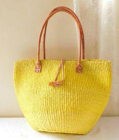 Yellow African sisal tote bag with leather handles/ Handmade woven bag/ Kiondo bag/ African ethnic b Ethnic Bag, Crochet Tote, Christmas Gifts For Mom, Basket Bag, Sisal, Handmade Bags, Leather Handle, Fashion Bags, Kenya