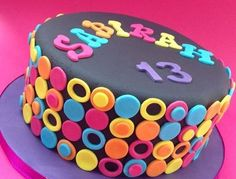 I made this cake for a 13 year old girl who was hsving a neon themed party