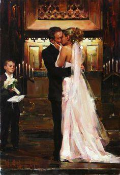 Original Painting, First Kiss by Michael & Inessa Garmash