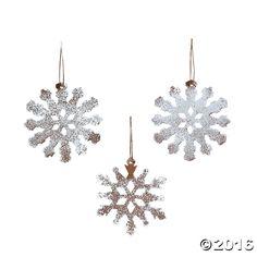 White Rustic Snowflake Christmas Ornaments