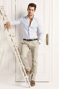 Pale blue shirt and beige pants