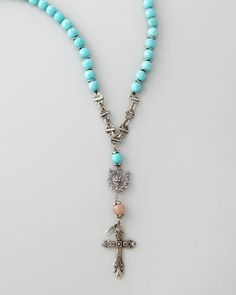 Long Beaded Cross Necklace, Turquoise by Love Heals at Neiman Marcus.