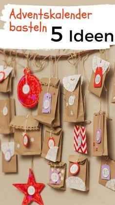 Schnelle und einfache Ideen, wie du einen Adventskalender basteln kannst. Plus: Tipps, mit was du den Kalender füllst. #weihnachten #advent #diy Advent Calendar, Holiday Decor, Santa, Advent Season, Craft Tutorials, Christmas, Advent Calenders