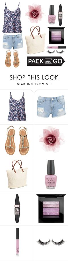 """""""Pack and Go"""" by lfrye2080 ❤ liked on Polyvore featuring Miss Selfridge, Boohoo, H&M, Accessorize, OPI, Maybelline, MAC Cosmetics and NARS Cosmetics"""