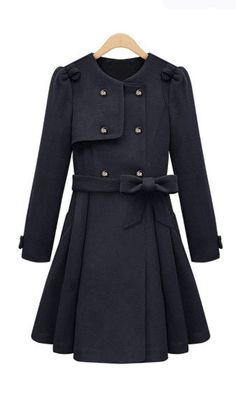 Cute Cheap Double breasted long coat sapphire - Coat Online Shopping Free Shipping AHAI014109
