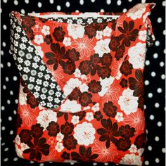 Red White Black Floral Tote