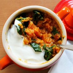 A hearty and warming red lentil Dahl with spinach and sweet potato.