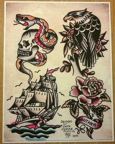Producto Traditional Tattoo Skull, Traditional Tattoo Old School, Traditional Sleeve, Blackwork, Sailor Jerry Tattoo Flash, Sailor Tattoos, Americana Tattoo, Tattoo Tradicional, Tattoo Gallery