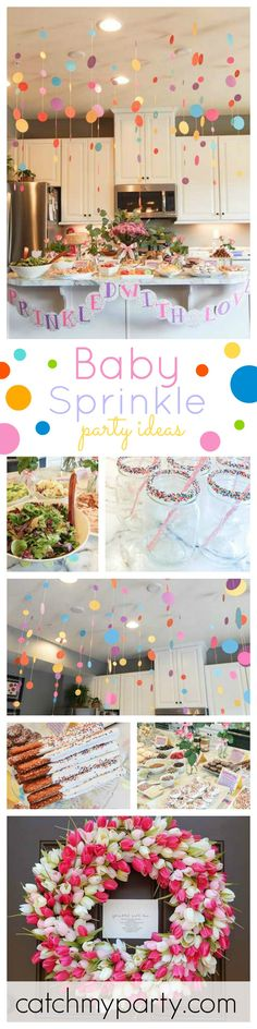 If your planning on hosting a Baby Sprinkle Baby Shower then you won't want to miss this gorgeous party! Just look at the decorations! See more party ideas at CatchMyParty.com
