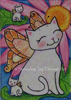 """A mother garden cat fairy sits with her baby kitten fairies in a beautiful garden.  """"Garden Friends"""