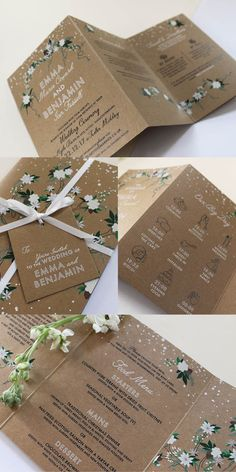 Christmas Wedding Stationery. Falling snow, white floral patterns, simple text and Kraft paper. This is perfect for any modern Christmas wedding. Part of the 'TWILIGHT' collection by Paper Date.