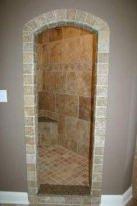 Walk in shower ... shower built so that a door isn't needed.