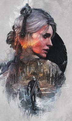 The witcher, artwork, Ciri and Geralt of Rivia, minimal, 480x800 wallpaper