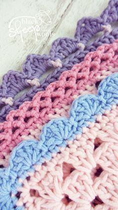 Crochet Borders Three Crochet Borders | Emma Varnam | Cherry Heart | Lynne Rowe | Black Sheep Wools - Three crochet borders to finish off your latest project from crochet bloggers / designers Lynne Rowe, Emma Varnam and Cherry Heart.