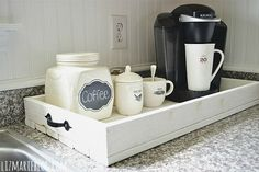 Coffee station on a rustic wood tray. Description from pinterest.com. I searched for this on bing.com/images