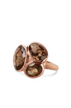 Smokey Quartz & Rose Gold Cocktail Ring | Trilogy Ring | Stella & Dot