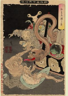 The heavy basket. An opened hamper releases a Pandora's box of goblins and demons. From the series Thirty Six Ghosts, Tsukioka Yoshitoshi from the floating world