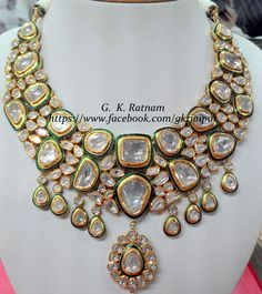 Portrait-cut far-sized diamond polki necklace with green meenakari  | Diamond Polki Jewelry | Bridal Sets | Vilandi Jewelry | Traditional Indian Jewelry | Wedding Jewelry
